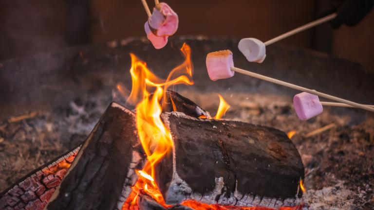 Toasting a marshmallow over an open flame