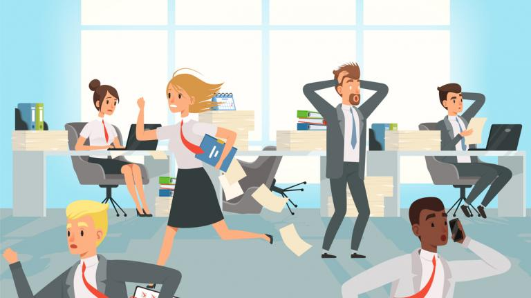 Business workers managers stress running on workplaces
