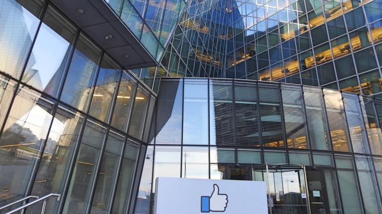 27th June 2019, Dublin, Ireland. The Facebook Like sign outside Facebook's European headquarters building in Dublin's Grand Canal Dock.