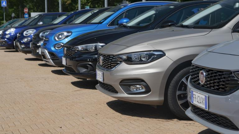 Fiat vehicles on the public parking. On the first plan we see the Fiat Tipo compact cars. This model was debut in 2015 on the market.