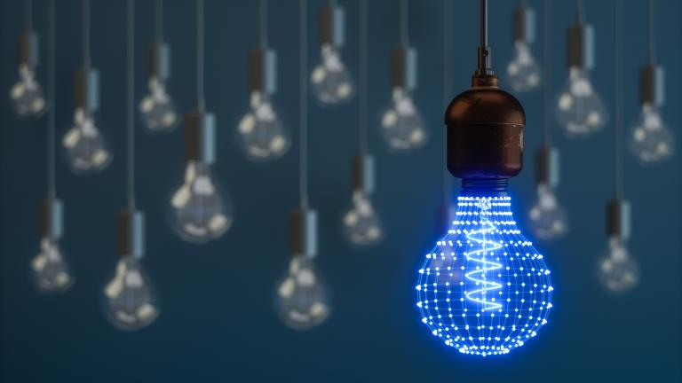 Lightbulb With Connecting Dots
