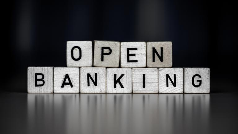 The word open banking as Concept on wooden cubes, business.