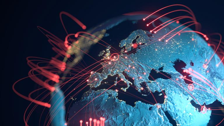 High quality 3D rendered image, perfectly usable for topics related to big data, global networks, international flight routes or the spread of a pandemic / computer virus. Textures courtesy of NASA: