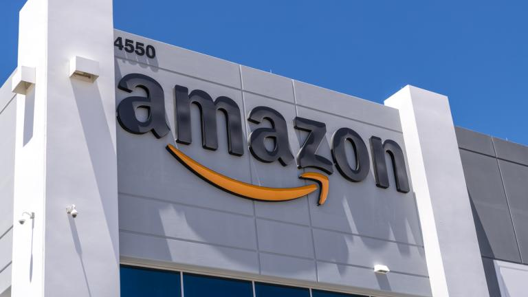 Amazon fulfillment center exterior shot in North Las Vegas Nevada USA.
