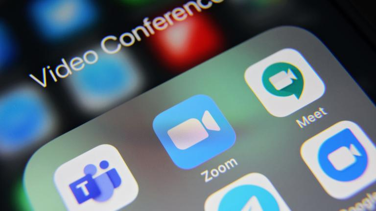 Video conference social media icons applications Zoom, Microsoft Teams, Meet, Skype