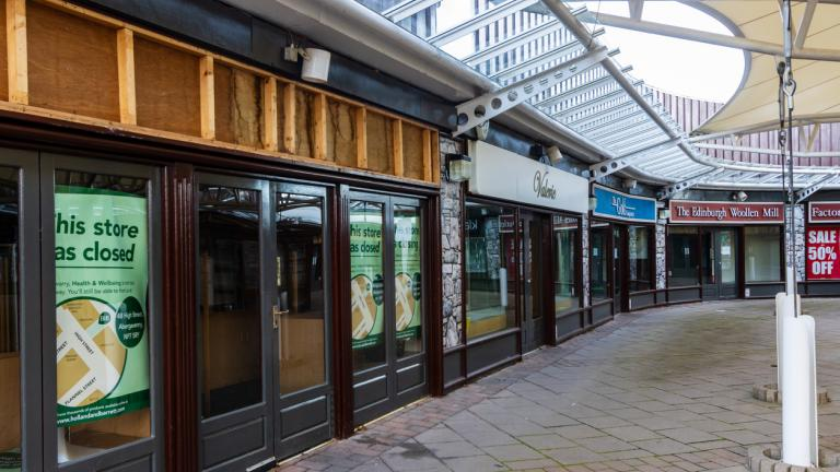 Closed shops in Ebbw Vale, Wales, due to coronavirus