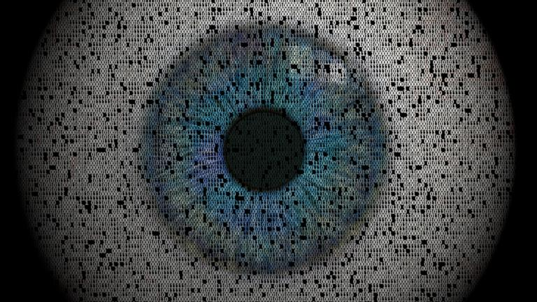 Isolated eye made from ones and zeros.