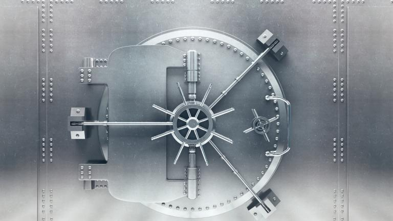 Locked vault: Security - Front view of light silver bank vault door, closed. 3D Render