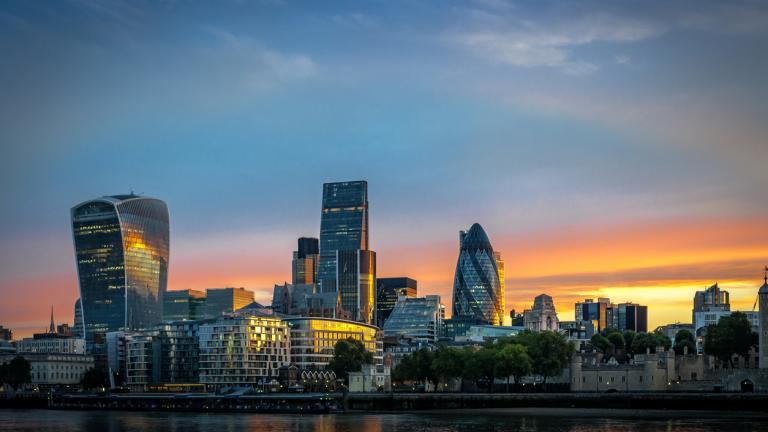 The City, one of the most important global financial center landmarks of the world, and the most important international business center in Europe, on the North bank of river Thames in London, England