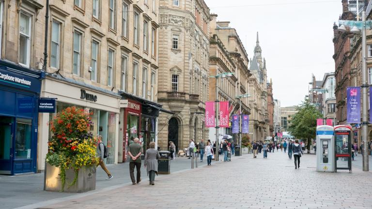 People walking on a shopping street