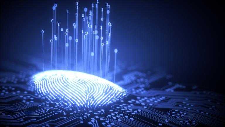 3D illustration of fingerprint integrated in a printed circuit, releasing binary codes.