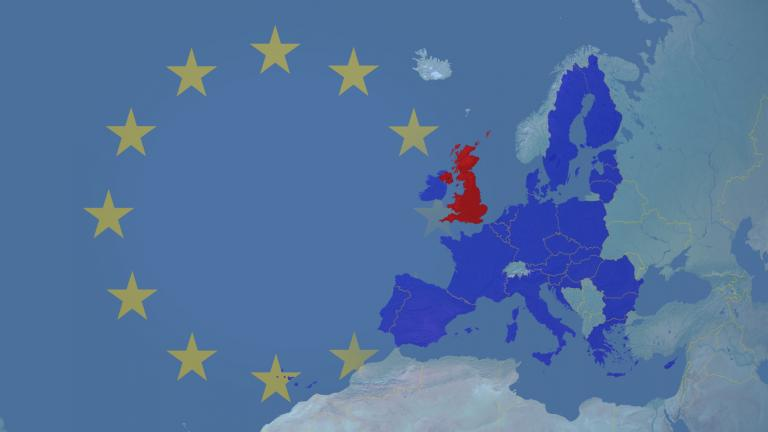 EU after brexit with UK in red