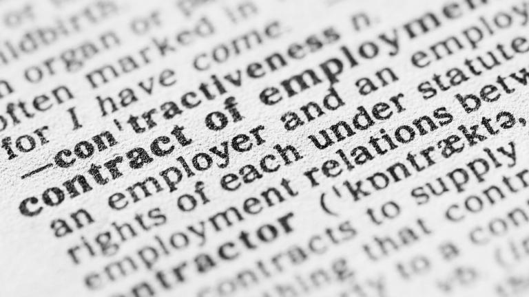 Dictionary definition of contract of employment