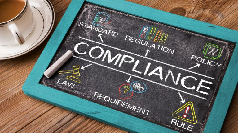 Compliance concept diagram with related keywords and elements