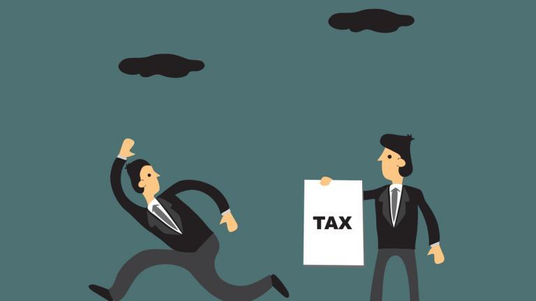 tax avoidance man running away from tax bill