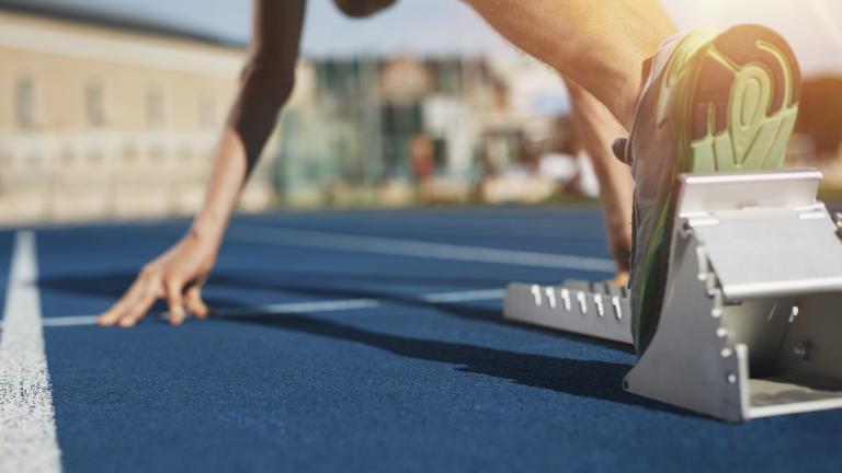 sprinter on the starting blocks