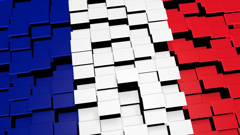 France country flag background formed from digital mosaic tiles