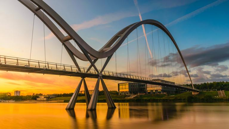 Infinity Bridge at sunset In Stockton-on-Tees, UK