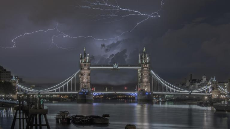 Lightening over London Bridge.