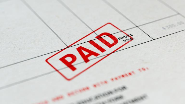 Paid Invoice With Selective Focus