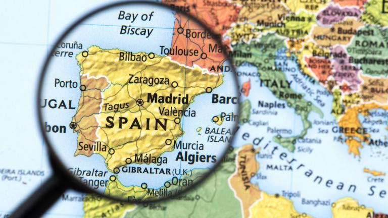 Spain on a map