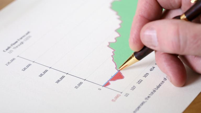 Graph indicating a profit