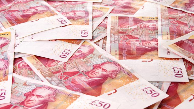 Background of British Fifty Pound Banknotes