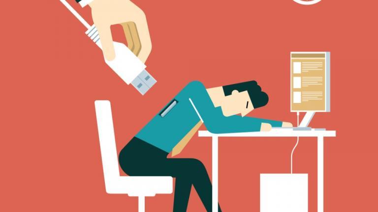An image of an overworked businessman