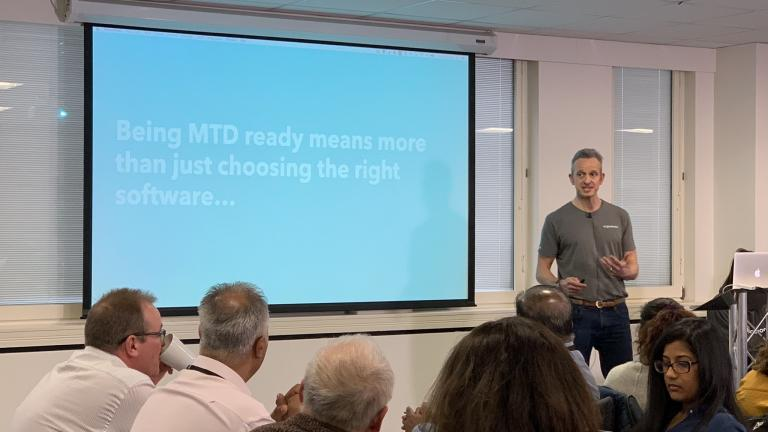 Alex Davies speaking at the MTD final push event