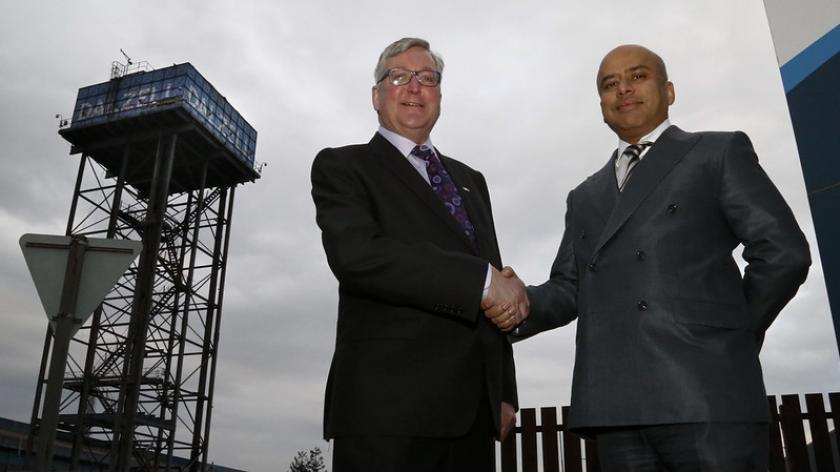 Sanjeev Gupta of Liberty House Group outside the Dalzell steel plant in Motherwell.