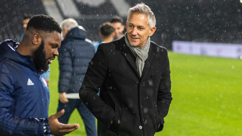 Gary Lineker attended an event at Fulham Football Club where refugee children take part in a football training session