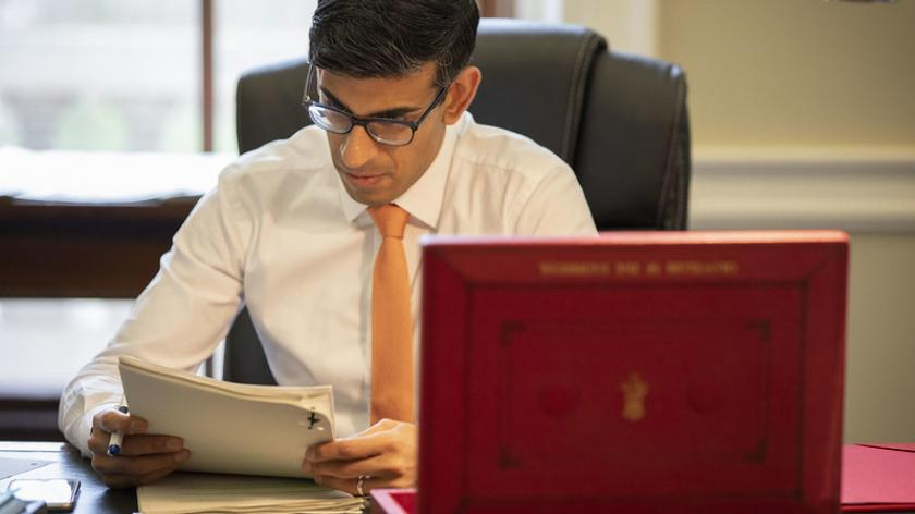 The Chancellor Rishi Sunak makes final preparations to his first Budget speech