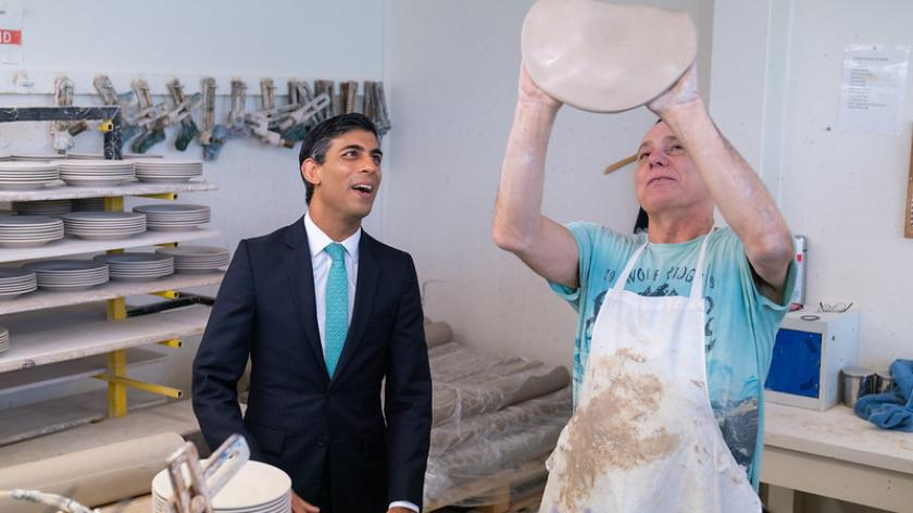 The Chancellor visits Emma Bridgewater to promote his plan for jobs.