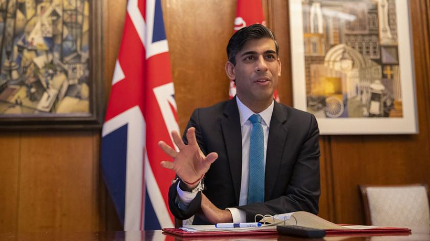 The Chancellor Rishi Sunak attends a virtual meeting