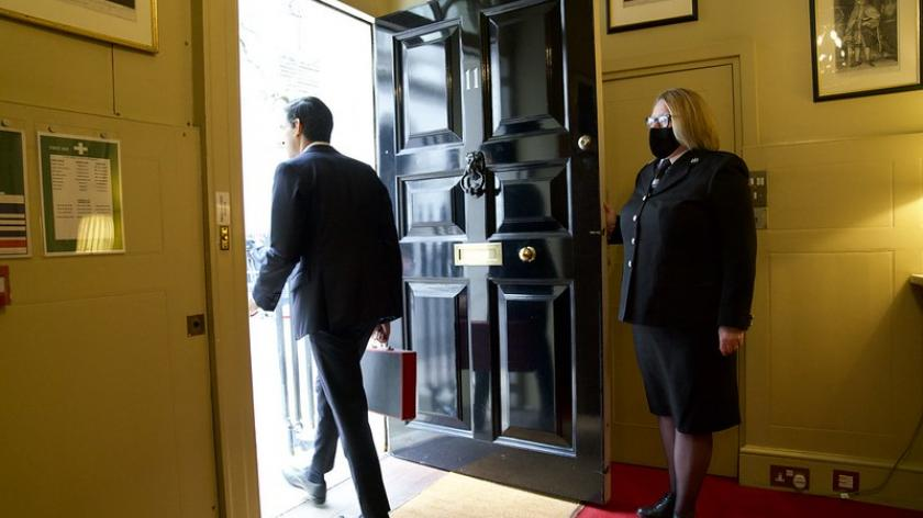 The Chancellor leaving No.11 to deliver the budget