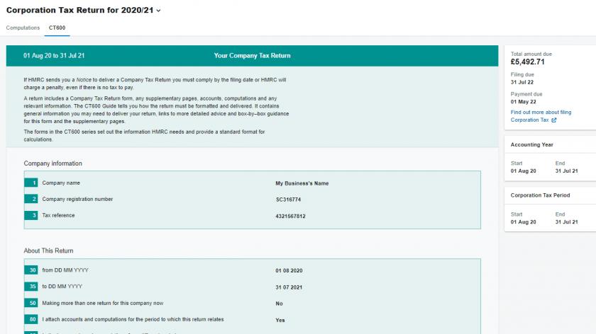FreeAgent corporation tax report screenshot
