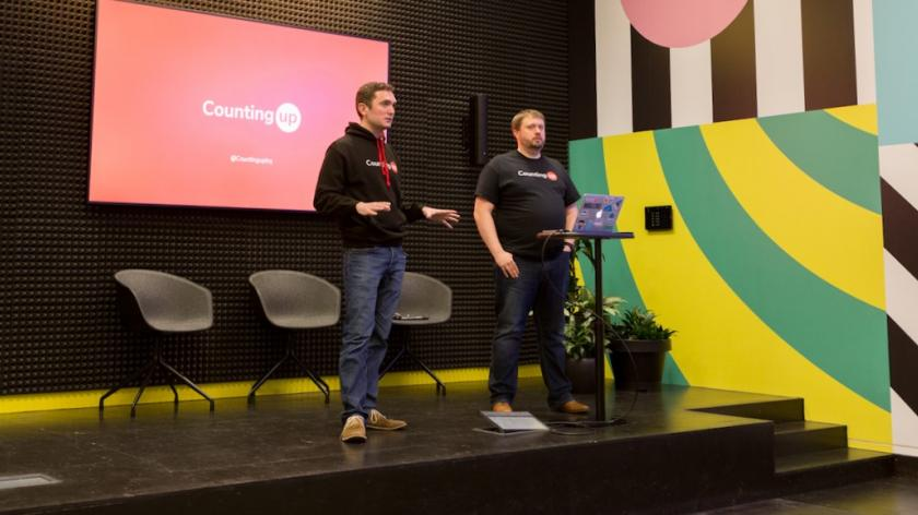 Tim Fouracre (left) introduces his new online banking service, CountingUp