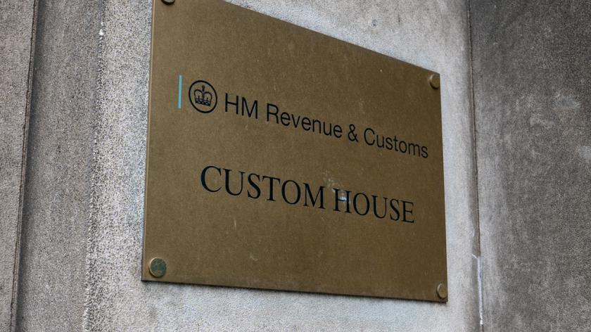 Sign outside HM Revenue & Customs 'Custom House', London