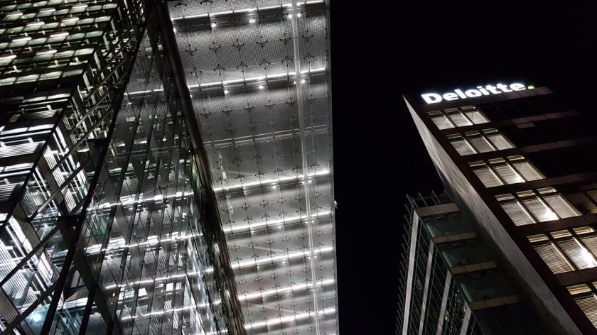 Deloitte building and logo