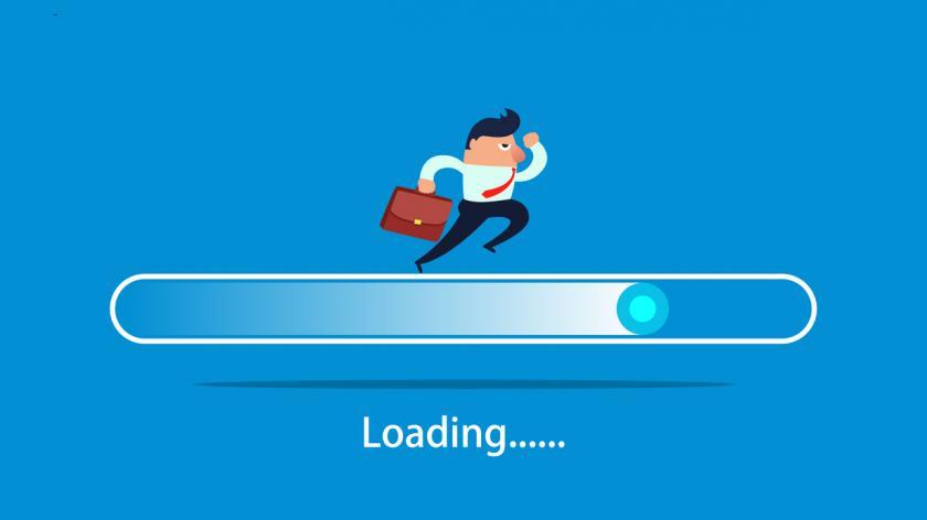 Businessman running on the progress bar