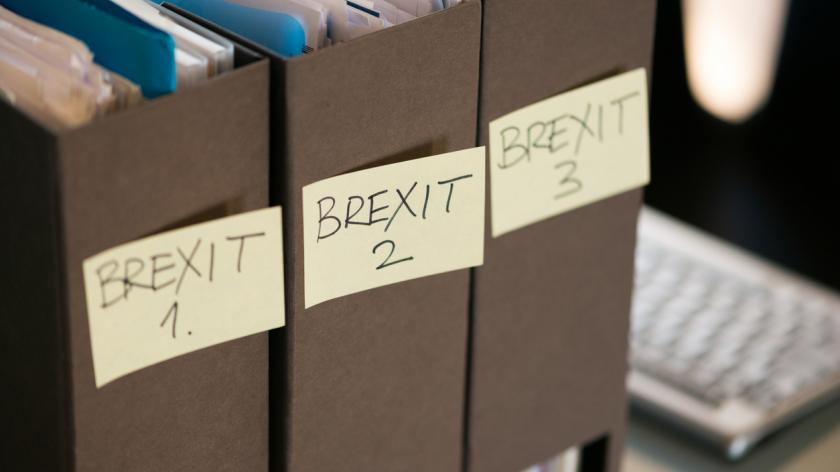Collection of folders belonging to a small business containing Brexit related paperwork.