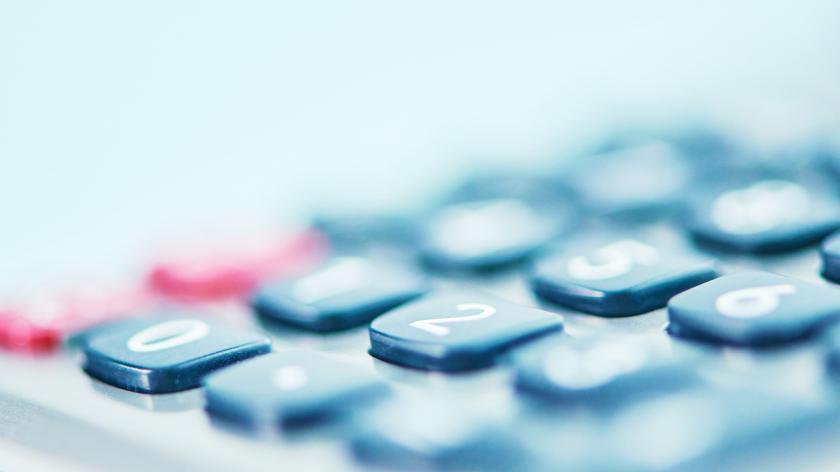 Macro shot of a calculator