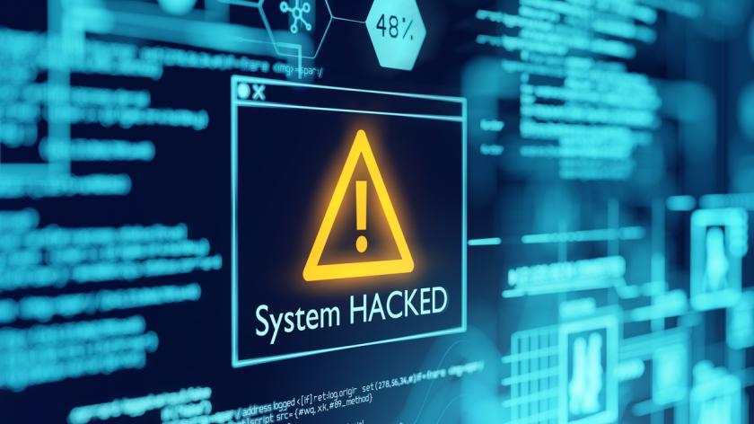 A computer popup box screen warning of a system being hacked, compromised software environment.