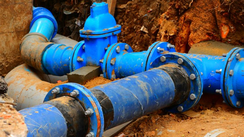 Pipes and valves underground