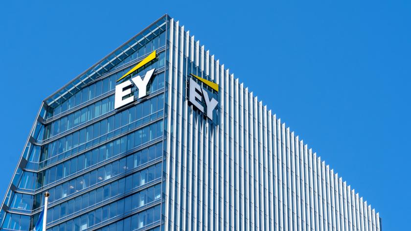 Sign and logo of EY on EY Tower in downtown Toronto. Ernst & Young is a multinational accounting firms headquartered in London, England.