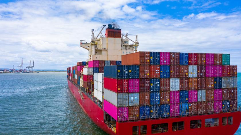 Container cargo ship carrying container for business freight