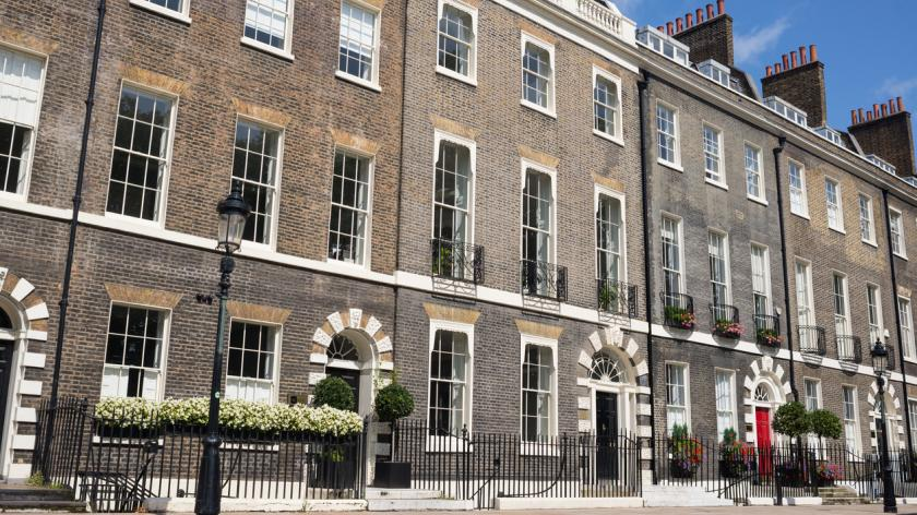 Three storeys town houses in the exclusive Bloomsbury area in Central London.
