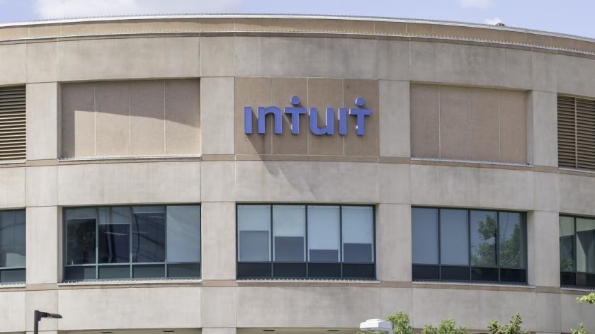 August 11, 2019: Intuit Inc. corporation office building in Mississauga, Ontario, Canada. Intuit Inc. is an American business and financial software company.