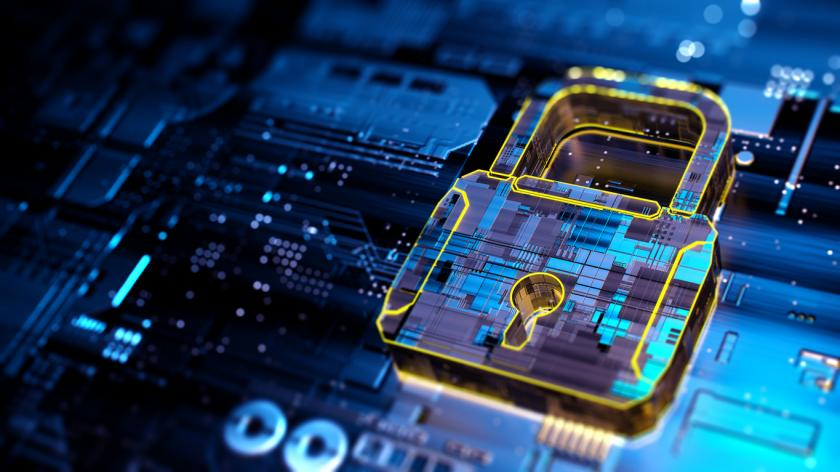 igital background depicting innovative technologies in security systems