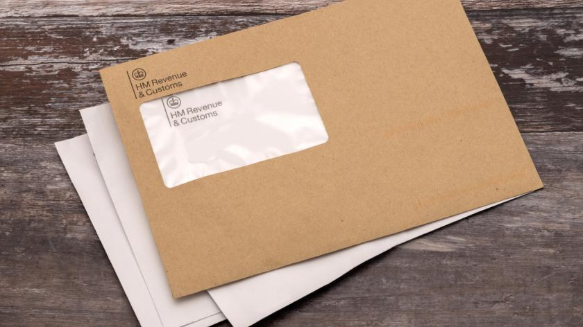Brown HMRC envelope. An envelope from the UK tax office HM Revenue and Customs. Never a welcome letter to receive.